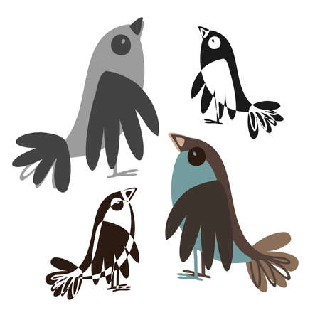 Isolated black and white vector design with silhouettes of cute birds on white Illustration