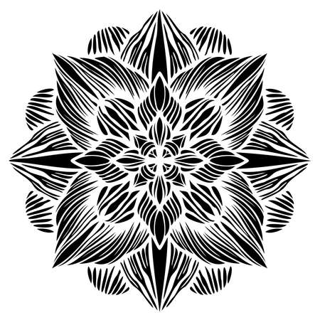 Modern isolated black and white illustration design of lined flower