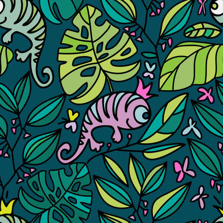 Seamless lined tropical colorful pattern of abstract lizards and leaves