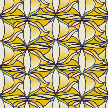 Seamless pattern colorful design of abstract leaf doodles in lines Illustration