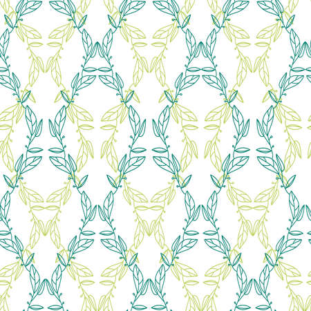 Seamless ornamental lined colorful green pattern of tropical leaves