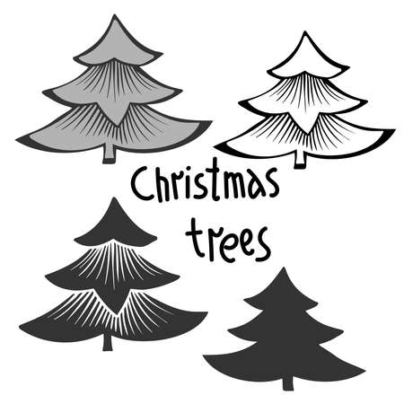 Isolated vector black and white design of decorative Christmas trees with text