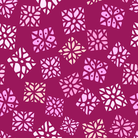 Vector seamless vintage pattern of squared shape snowflakes on pink