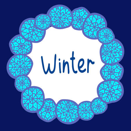 Colorful isolated vector design illustration card with blue snowflakes