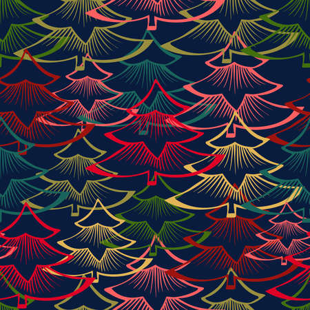 Vector seamless colorful design with decorative triangular fir trees on red