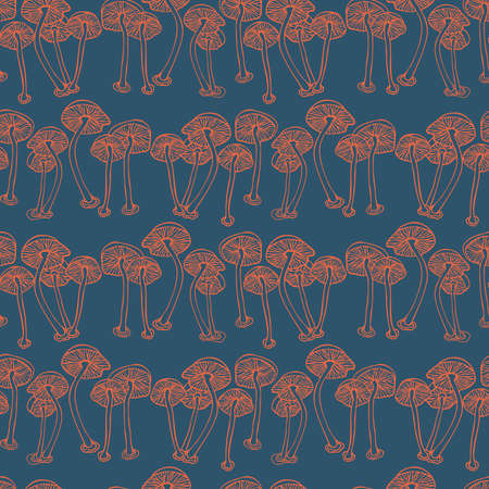 Vector seamless colorful pattern with lined mushrooms or fungi in blue tones Illustration