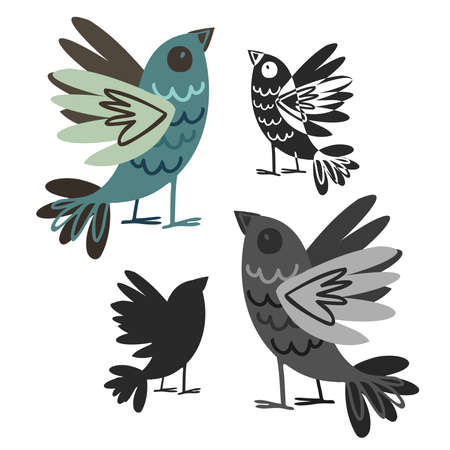 Isolated black and white design with silhouettes of cute birds on white Illustration