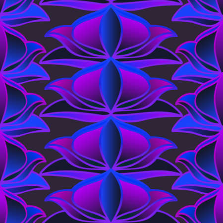 Seamless pattern colorful design of abstract purple leaf doodles in lines