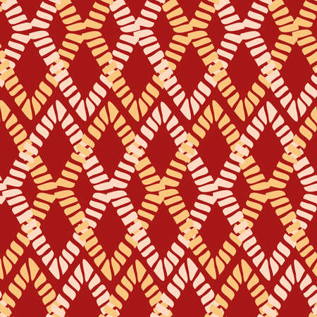 seamless vintage pattern of traditional textile patchwork blanket in red