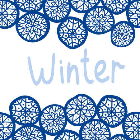 Colorful seamless lines pattern illustration card with blue snowflakes Illustration