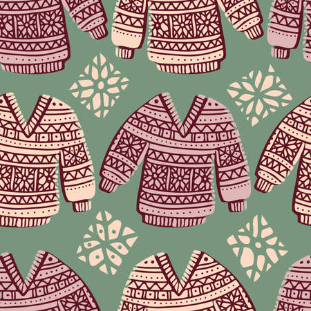 Seamless cute design of knitted ornamental colorful winter sweaters Illustration