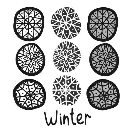 black and white isolated decorative set of snowflakes and winter text Illustration