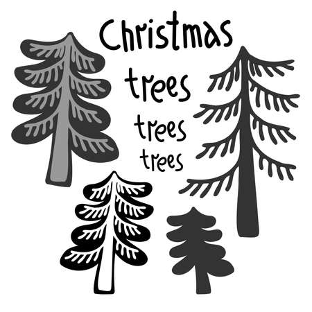 Black and white design of decorative Christmas trees with text
