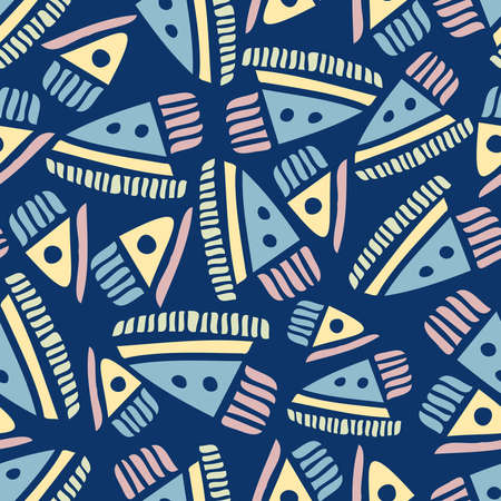 Modern seamless design pattern with abstract triangular shapes in blue