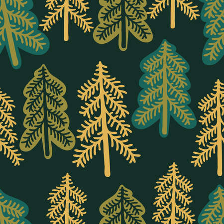 seamless colorful design with decorative triangular fir trees Illustration