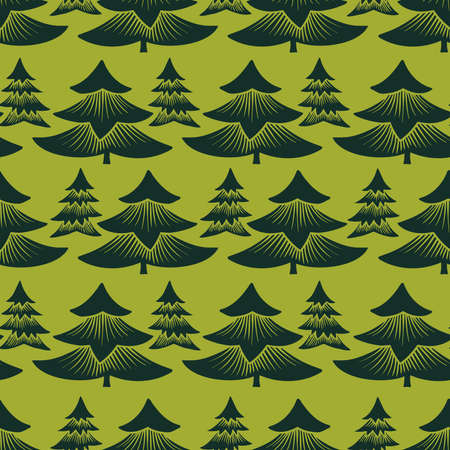 seamless colorful design with decorative triangular fir trees on red