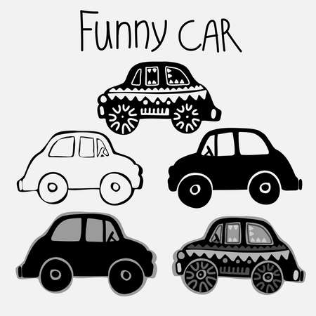 Isolated vector set of a car, lined, silhouette and grey on white background