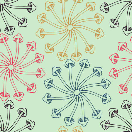 Vector seamless colorful pattern with lined mushrooms or fungi in circles Ilustrace