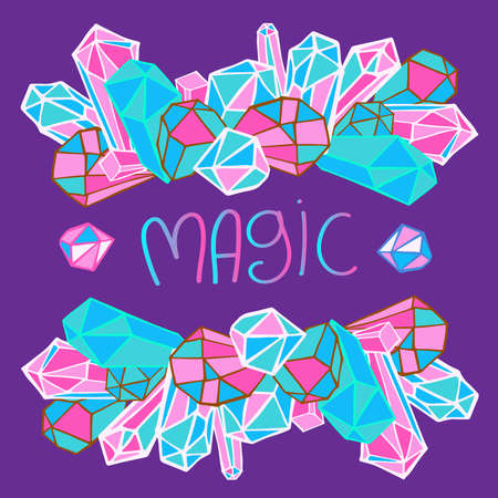 Isolated vector colorful design illustration circle of crystals with text magic Ilustrace