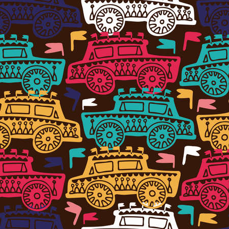 seamless colorful pattern of ornamental cars in lines on dark background Ilustrace