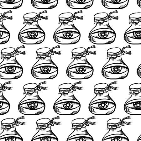 seamless black and white abstract pattern of ornamental eyes in test tube