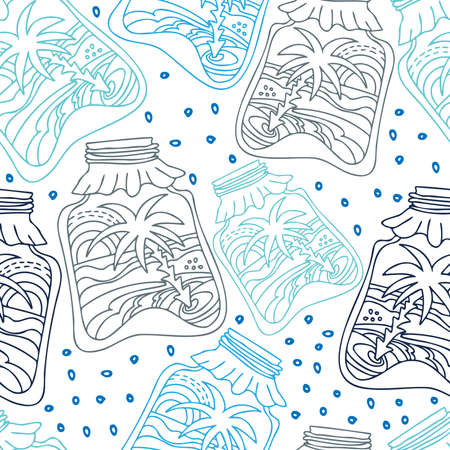 Vector colorful seamless pattern of lined winter snow globes in form of jars