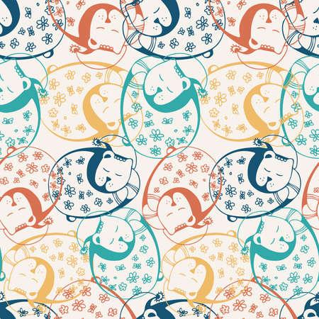 Seamless vector colorful illustration pattern of sleeping cute bears in pyjamas