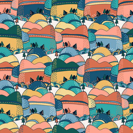 Seamless vector colorful pattern of a mountain with trees in pastel colors 矢量图像