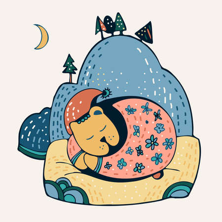 Isolated vector lined children illustration of sleeping cute bear and mountain in pastel colors 矢量图像