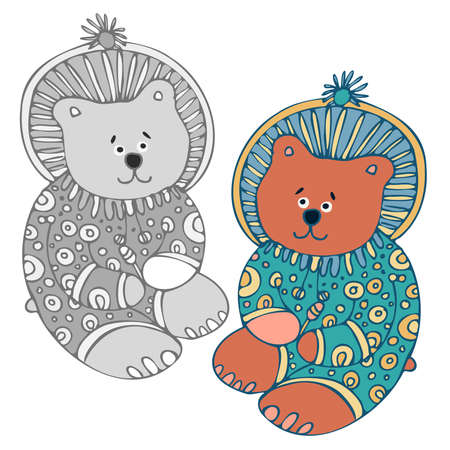 Isolated vector set of lined illustration of sleeping cute bear in pyjamas, grey and colored 矢量图像