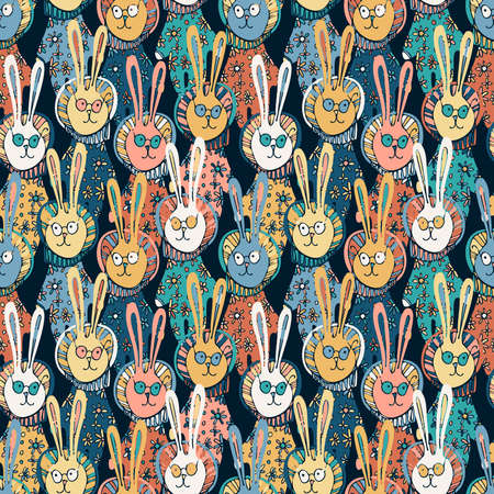 Seamless vector colorful pattern of ornamental lined bunnies in pyjamas with flowers