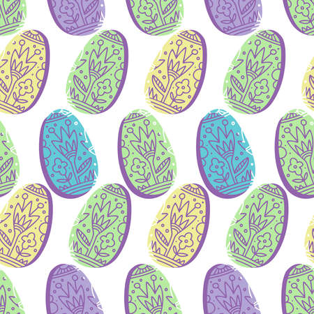 Vector seamless pattern of silhouette of ornamental easter eggs in lines in pastel colors