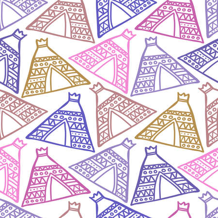Colorful vector seamless pattern design of lined silhouettes of ancient pyramid house