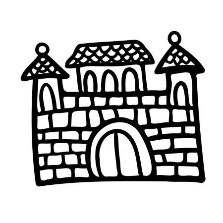 Isolated vector black and white set design of silhouette of medieval cartoon castle