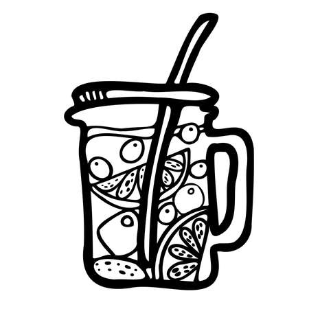 Isolated vector black and white design of lined ornamental glass mug of fruit tea