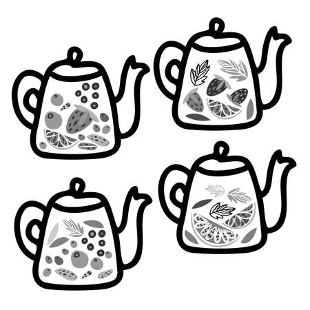 Isolated vector black and white illustration design of lined ornamental glass tea pot with fruits Vector Illustratie