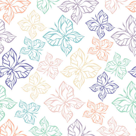 Abstract seamless vector pattern illustration design of lined butterfly in pastel colors