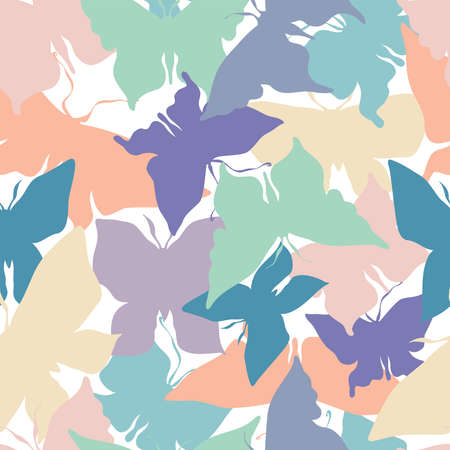 Abstract seamless vector pattern illustration design of silhouettes butterfly in pastel colors