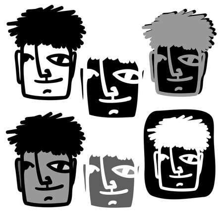 Vector isolated black and white illustration set of designs of lined abstract surreal face