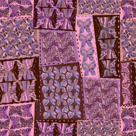 Vector seamless vintage pattern of traditional textile patchwork blanket with butterflies ornament