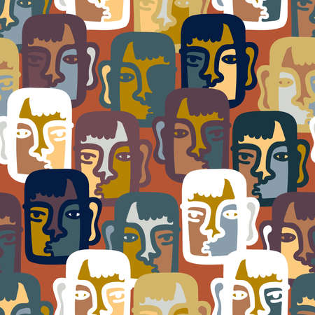 Vector seamless pattern illustration design of abstract lined surreal faces