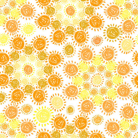 Vector seamless colorful pattern with orange and yellow hand-drawn suns in circles
