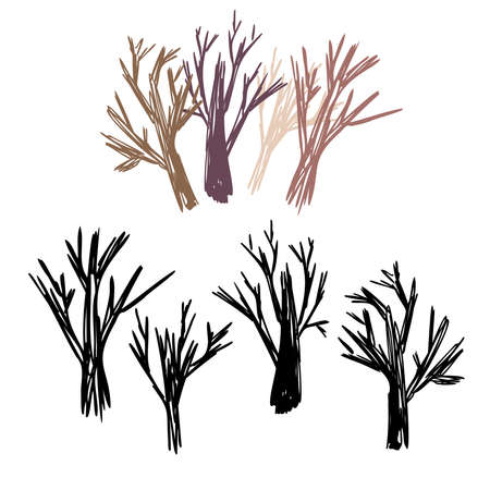 Vector colorful abstract isolated set design illustration with decorative tree branches Vetores