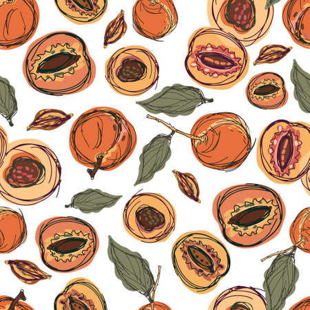 Modern seamless stylized design vector pattern with peaches and apricots on white background Vector Illustratie