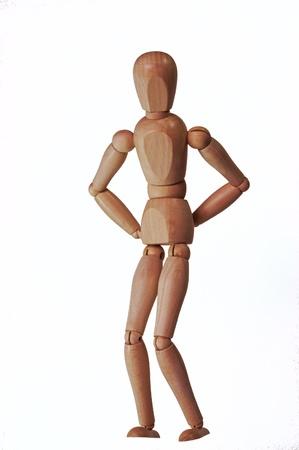 marioneta de madera: Marioneta de madera fijado como alguien con un fondo de dolor de espalda blanca sin sombra Foto de archivo