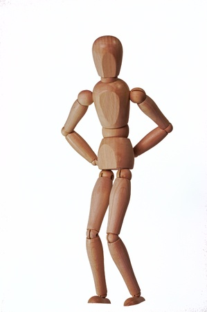 osteopath: Wooden puppet set as someone with a back pain  White background with no shadow
