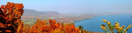 Fall landscape from a mountain in Quebec near the US border