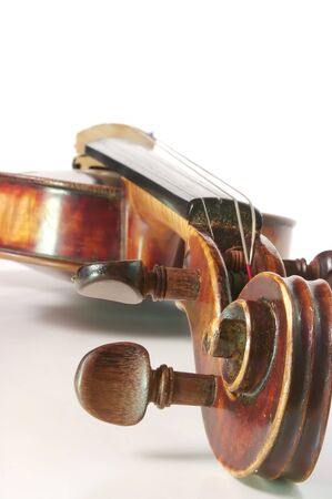 violins: Antique violin on a white backgound Stock Photo