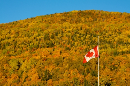 Canadian flag in a fall landscape photo