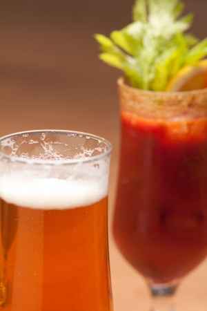 Beer and bloody mary Stock Photo